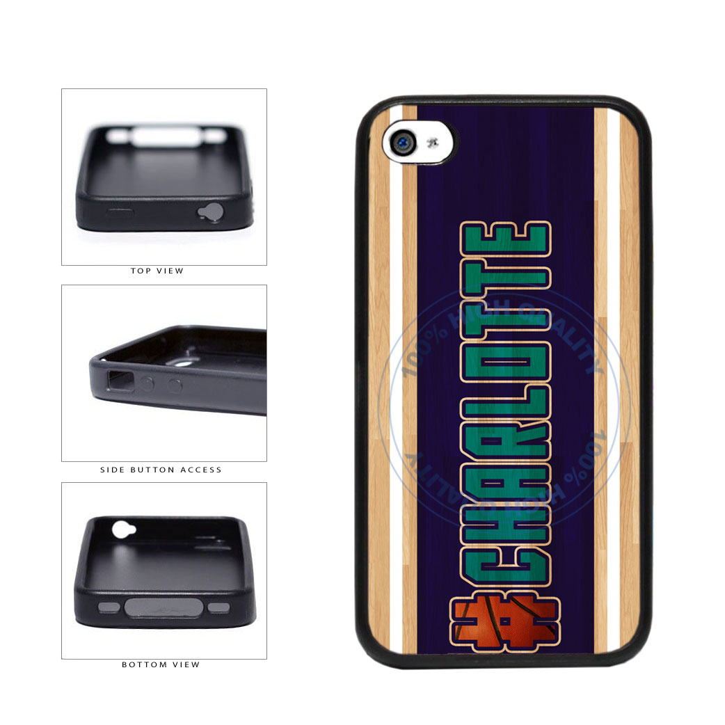 Basketball Team Hashtag Charlotte #Charlotte TPU Rubber SILICONE Phone Case Back Cover For Apple iPhone 4 4S includes BleuReign(TM) Cloth and Warranty Label