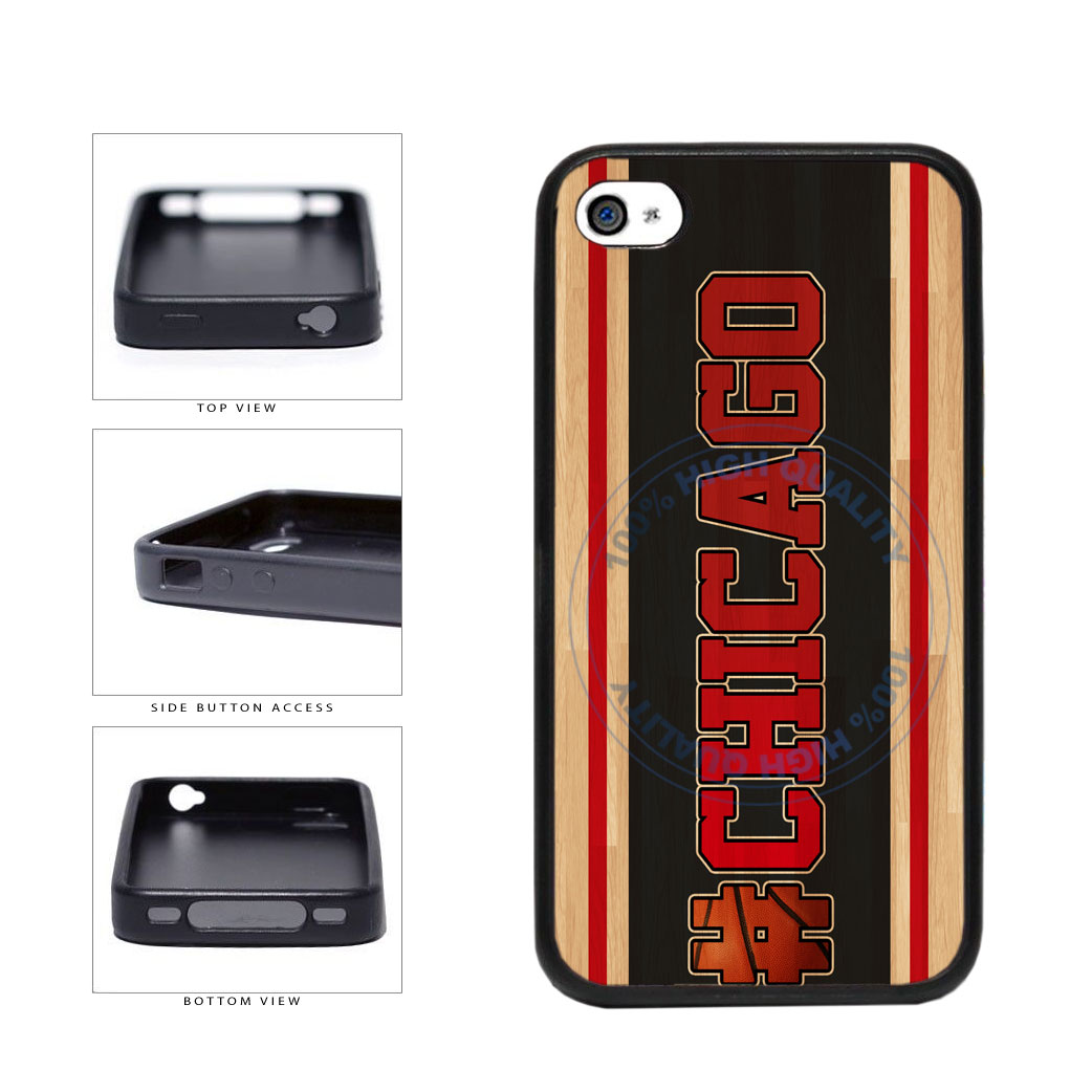 Basketball Team Hashtag Chicago #Chicago TPU Rubber SILICONE Phone Case Back Cover For Apple iPhone 4 4S includes BleuReign(TM) Cloth and Warranty Label