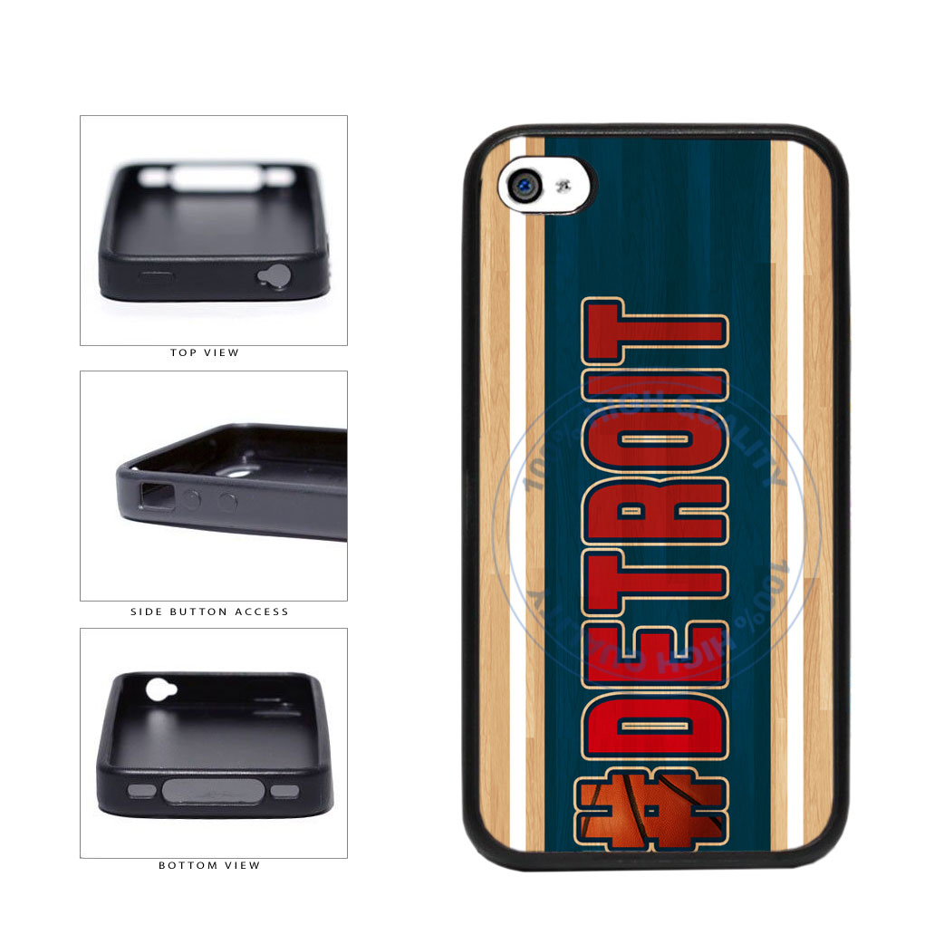 Basketball Team Hashtag Detroit #Detroit TPU Rubber SILICONE Phone Case Back Cover For Apple iPhone 4 4S includes BleuReign(TM) Cloth and Warranty Label