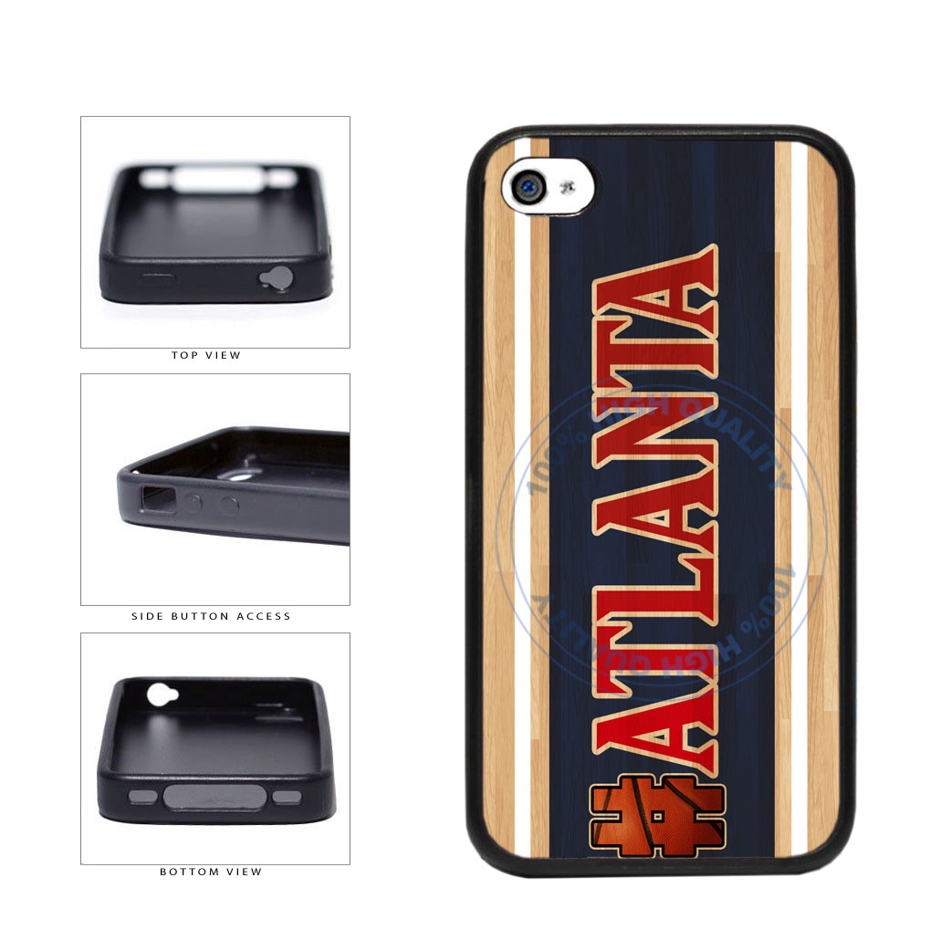 Basketball Team Hashtag Atlanta #Atlanta TPU Rubber SILICONE Phone Case Back Cover For Apple iPhone 4 4S includes BleuReign(TM) Cloth and Warranty Label