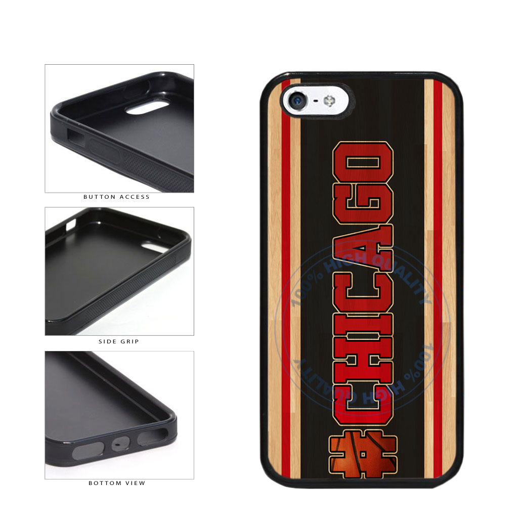 Basketball Team Hashtag Chicago #Chicago TPU Rubber SILICONE Phone Case Back Cover For Apple iPhone 5 5S includes BleuReign(TM) Cloth and Warranty Label