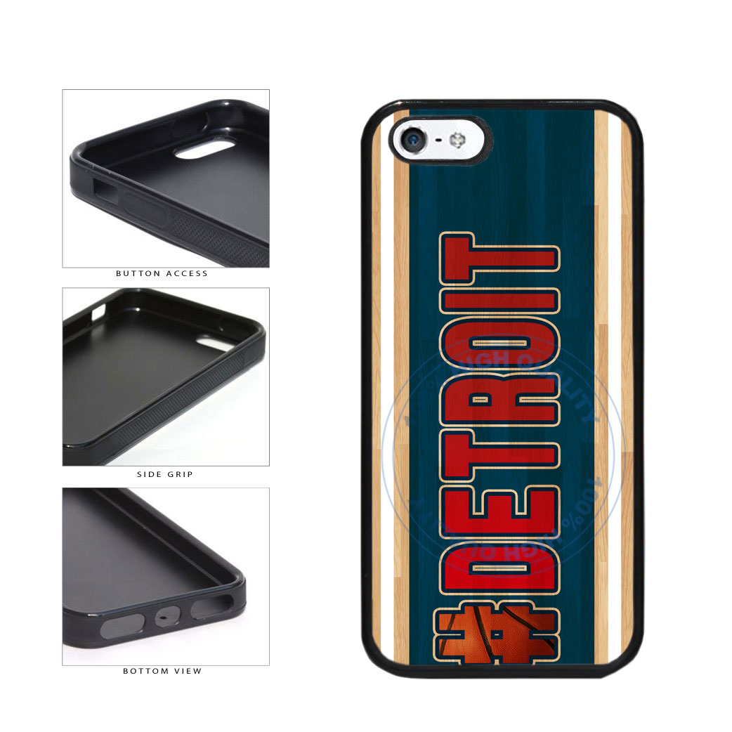 Basketball Team Hashtag Detroit #Detroit TPU Rubber SILICONE Phone Case Back Cover For Apple iPhone 5 5S includes BleuReign(TM) Cloth and Warranty Label
