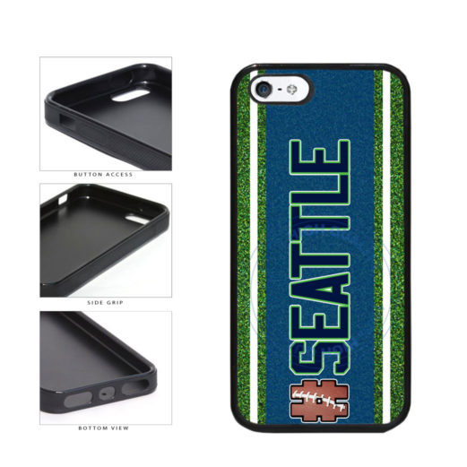 Hashtag Seattle #Seattle Football Team TPU Rubber SILICONE Phone Case Back Cover For Apple iPhone 5 5S includes BleuReign(TM) Cloth and Warranty Label