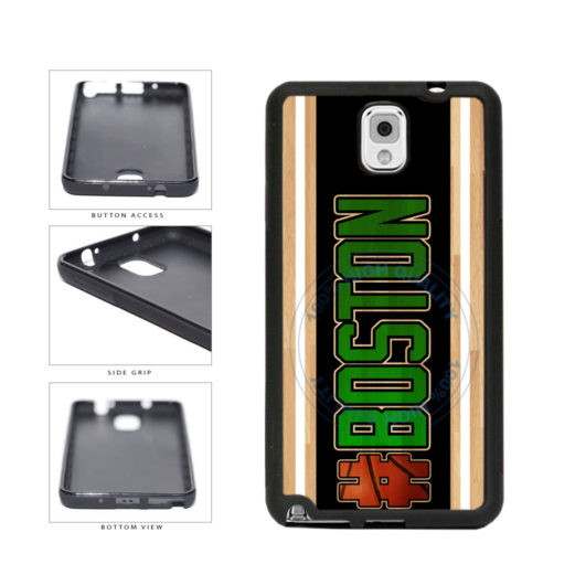 Basketball Team Hashtag Boston #Boston TPU Rubber SILICONE Phone Case Back Cover For Samsung Galaxy Note III 3 N9002 includes BleuReign(TM) Cloth and Warranty Label
