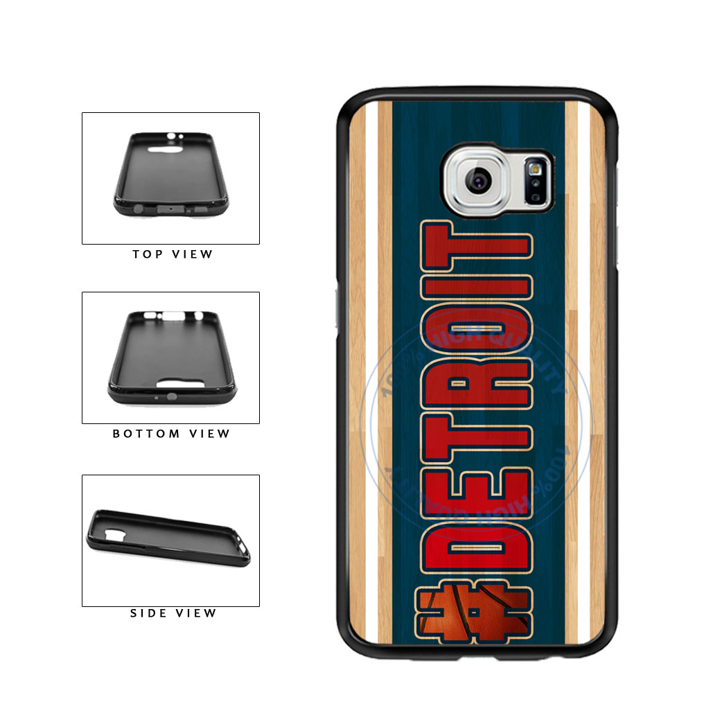 Basketball Team Hashtag Detroit #Detroit TPU Rubber SILICONE Phone Case Back Cover For Samsung Galaxy S6 Edge G925 includes BleuReign(TM) Cloth and Warranty Label