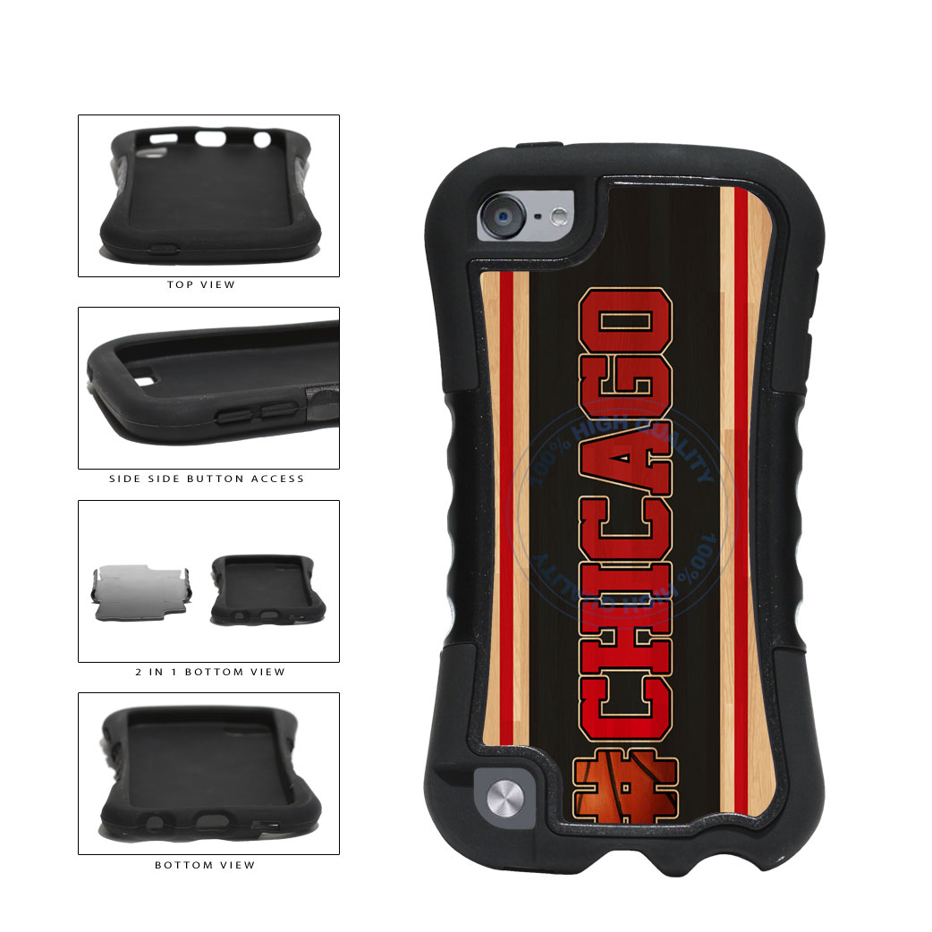 Basketball Team Hashtag Chicago #Chicago 2 Piece Dual Layer Phone Case Back Cover For Apple iPod Touch 5th Generation includes BleuReign(TM) Cloth and Warranty Label