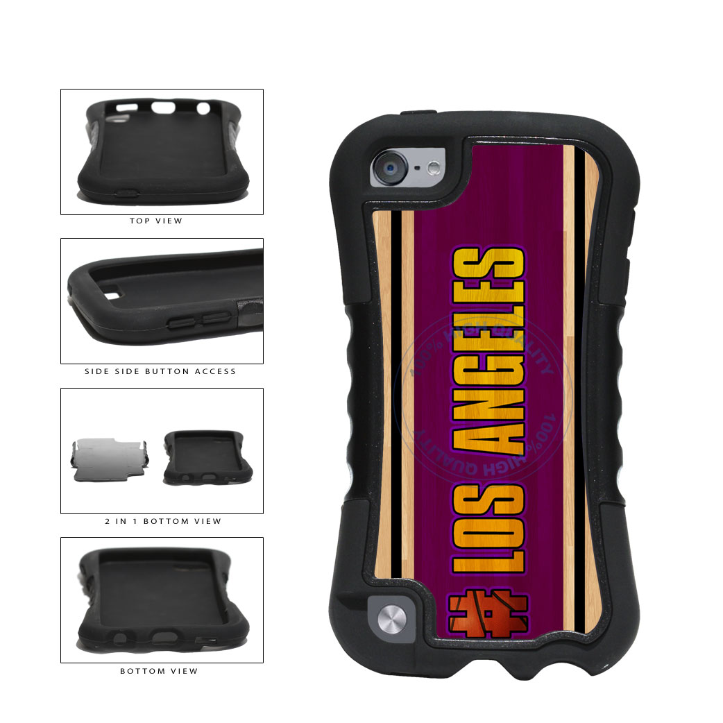 Basketball Team Hashtag Los Angeles Purple and Gold #LosAngeles Purple and Gold 2 Piece Dual Layer Phone Case Back Cover For Apple iPod Touch 5th Generation includes BleuReign(TM) Cloth and Warranty Label