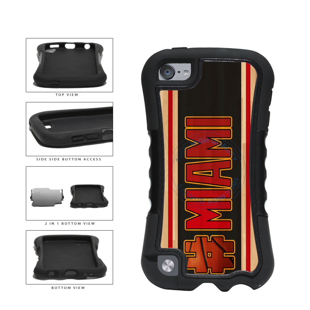 Basketball Team Hashtag Miami #Miami 2 Piece Dual Layer Phone Case Back Cover For Apple iPod Touch 5th Generation includes BleuReign(TM) Cloth and Warranty Label