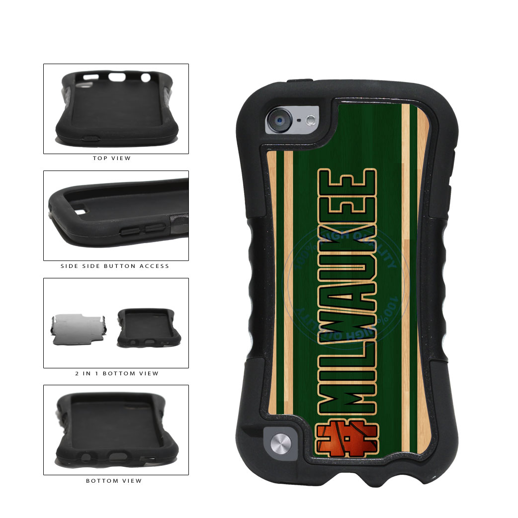 Basketball Team Hashtag Milwaukee #Milwaukee 2-Piece Dual Layer Phone Case Back Cover For Apple iPod Touch 5th Generation includes BleuReign(TM) Cloth and Warranty Label