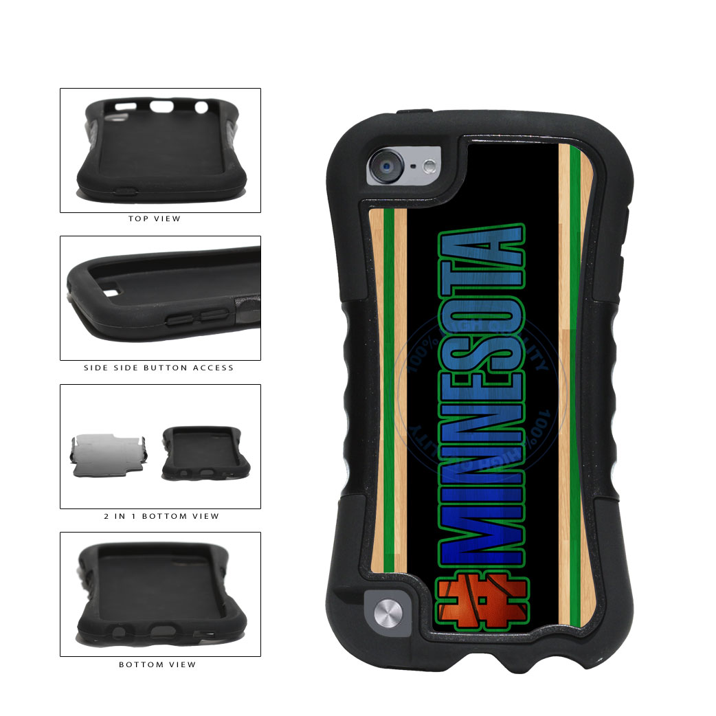 Basketball Team Hashtag Minnesota #Minnesota 2-Piece Dual Layer Phone Case Back Cover For Apple iPod Touch 5th Generation includes BleuReign(TM) Cloth and Warranty Label