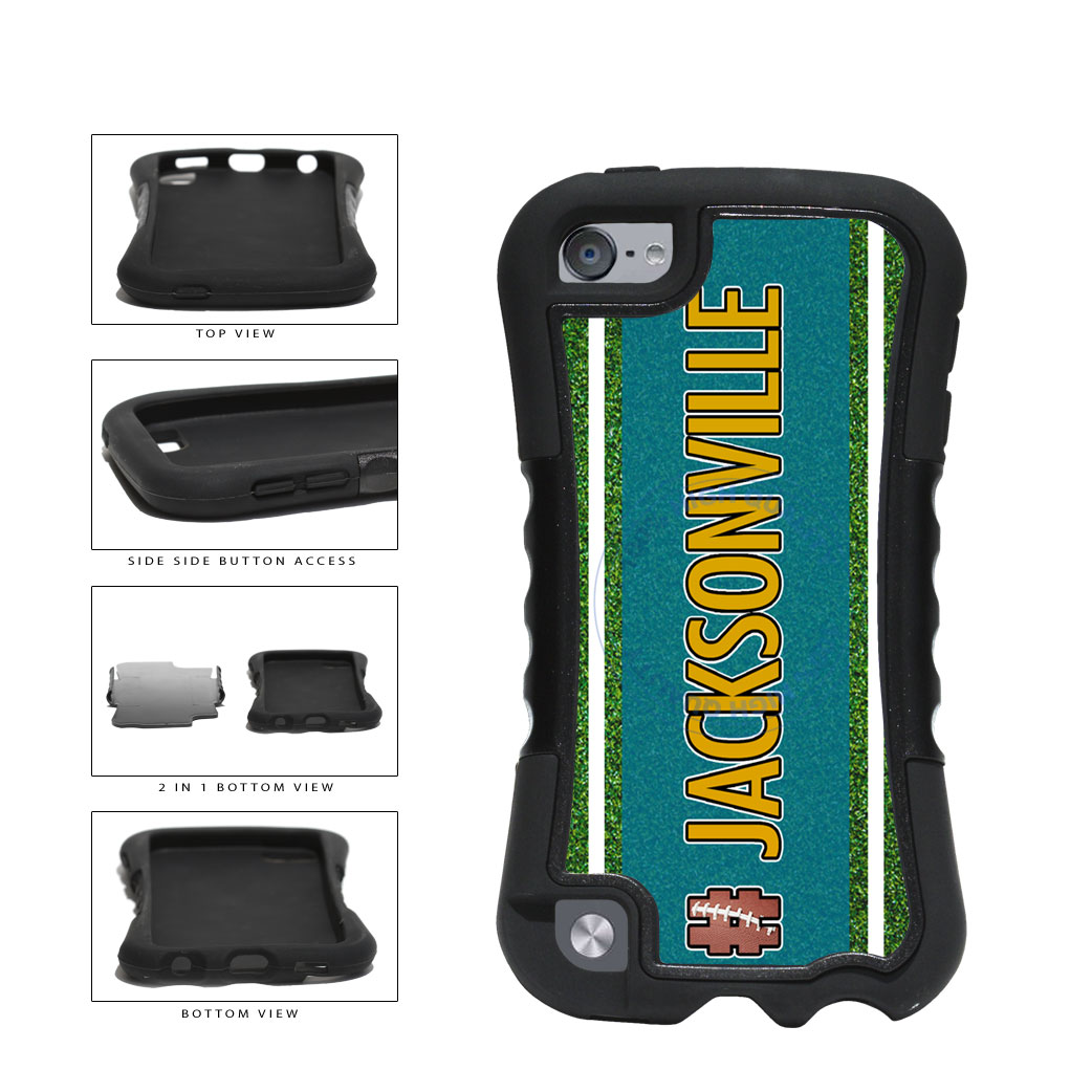 Hashtag Jacksonville #Jacksonville Football Team 2-Piece Dual Layer Phone Case Back Cover For Apple iPod Touch 5th Generation includes BleuReign(TM) Cloth and Warranty Label