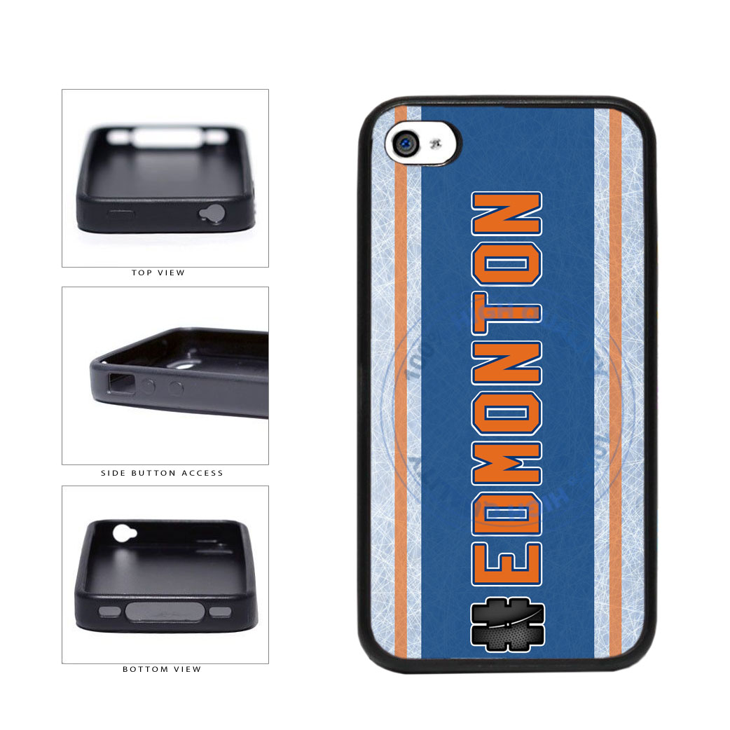 Hockey Team Hashtag Edmonton #Edmonton TPU Rubber SILICONE Phone Case Back Cover For Apple iPhone 4 4S includes BleuReign(TM) Cloth and Warranty Label