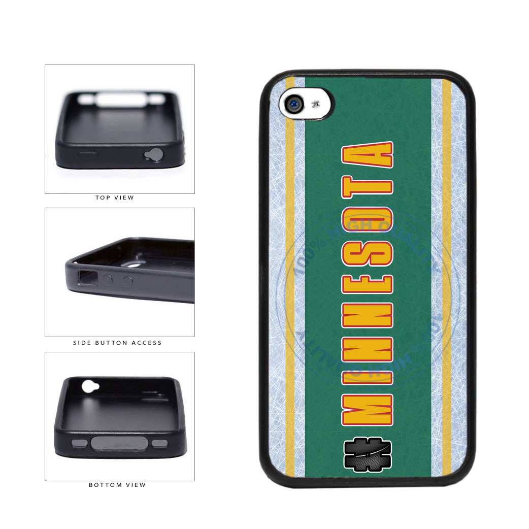 Hockey Team Hashtag Minnesota #Minnesota TPU Rubber SILICONE Phone Case Back Cover For Apple iPhone 4 4S includes BleuReign(TM) Cloth and Warranty Label