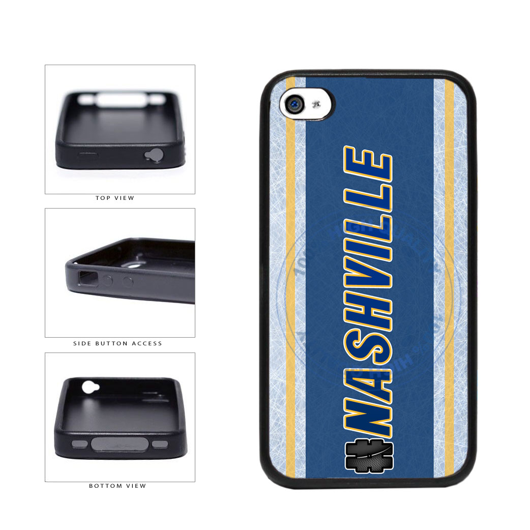 Hockey Team Hashtag Nashville #Nashville TPU Rubber SILICONE Phone Case Back Cover For Apple iPhone 4 4S includes BleuReign(TM) Cloth and Warranty Label