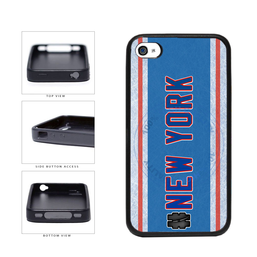 Hockey Team Hashtag New York Blue and Red #NewYork TPU Rubber SILICONE Phone Case Back Cover For Apple iPhone 4 4S includes BleuReign(TM) Cloth and Warranty Label