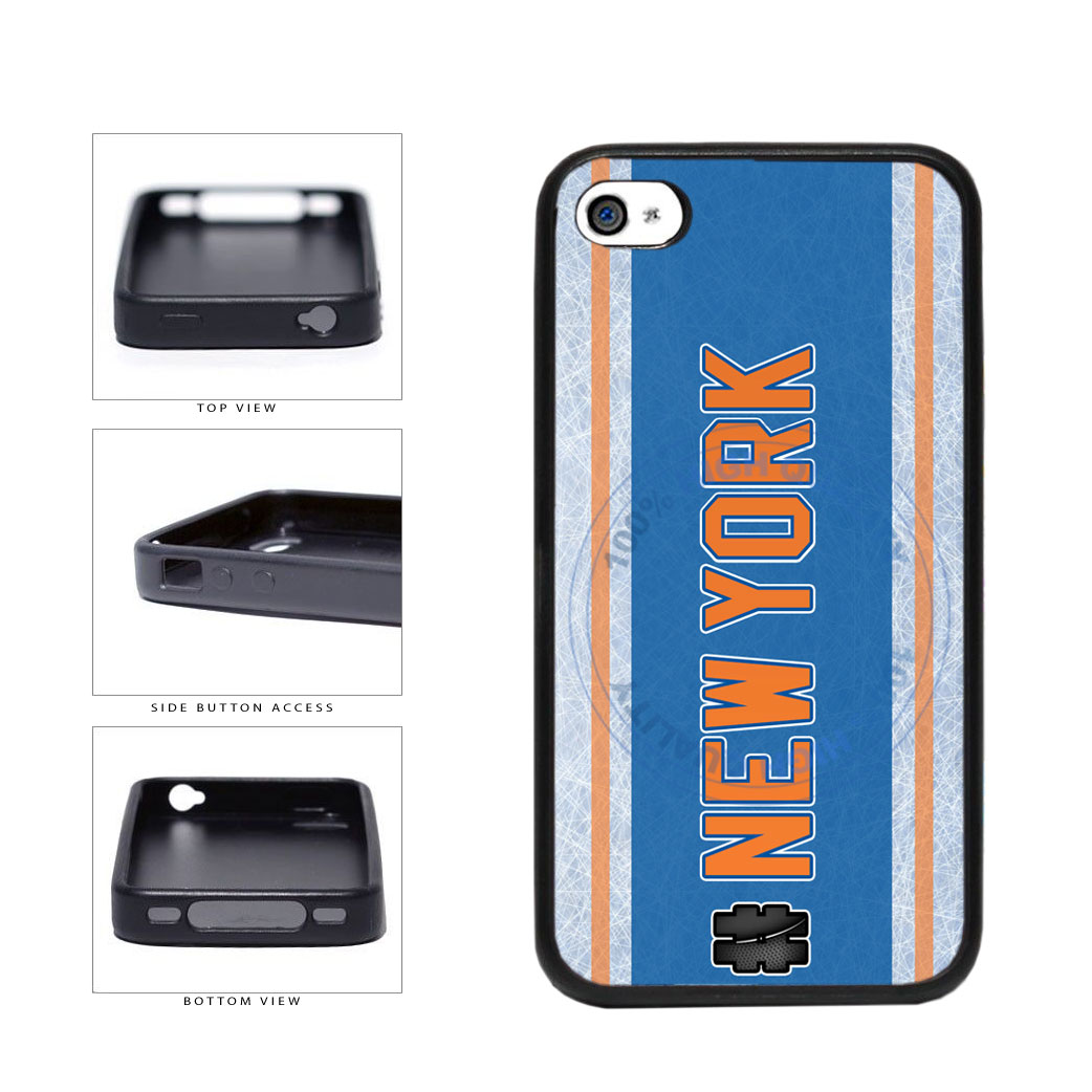 Hockey Team Hashtag New York Orange #NewYork TPU Rubber SILICONE Phone Case Back Cover For Apple iPhone 4 4S includes BleuReign(TM) Cloth and Warranty Label