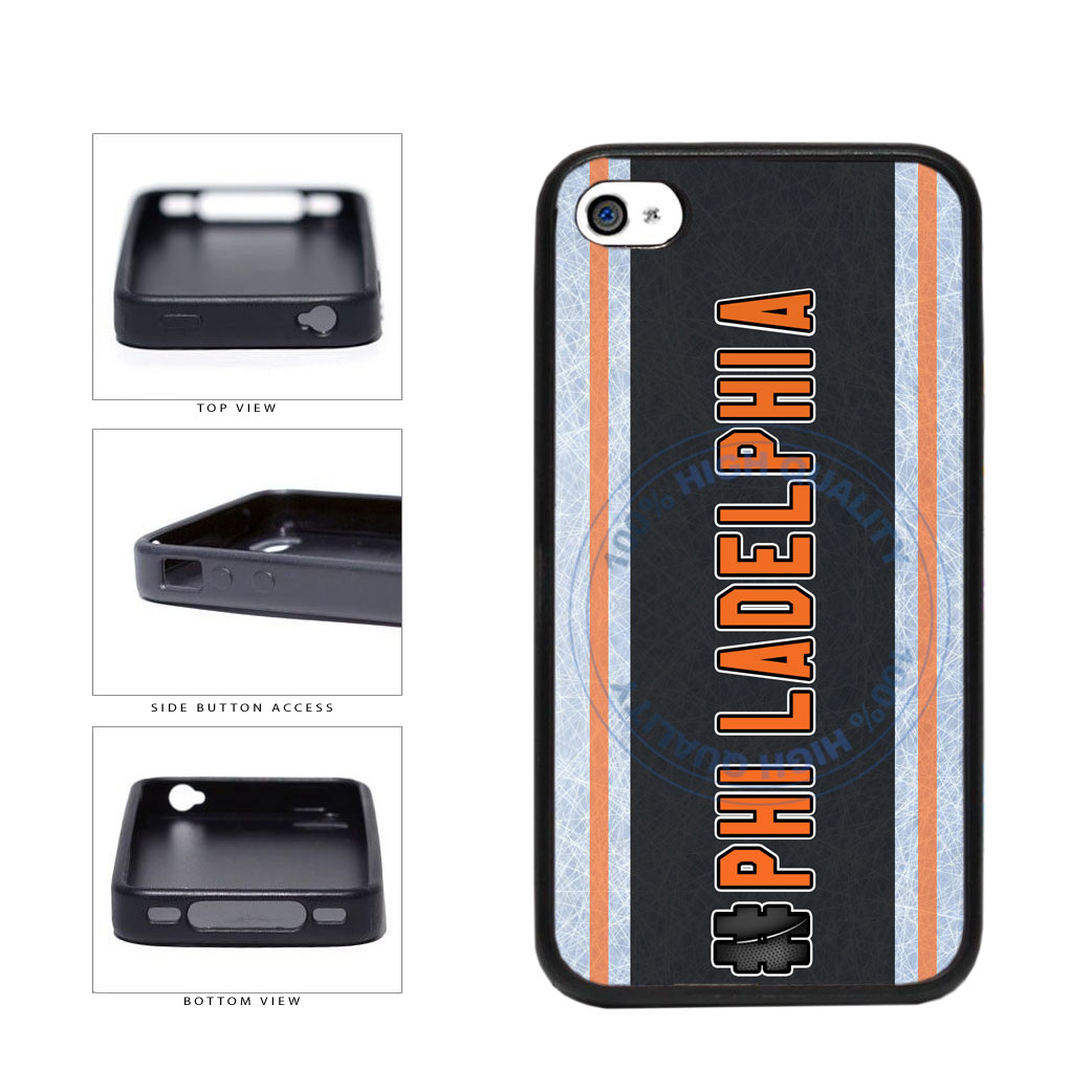 Hockey Team Hashtag Philadelphia #Philadelphia TPU Rubber SILICONE Phone Case Back Cover For Apple iPhone 4 4S includes BleuReign(TM) Cloth and Warranty Label