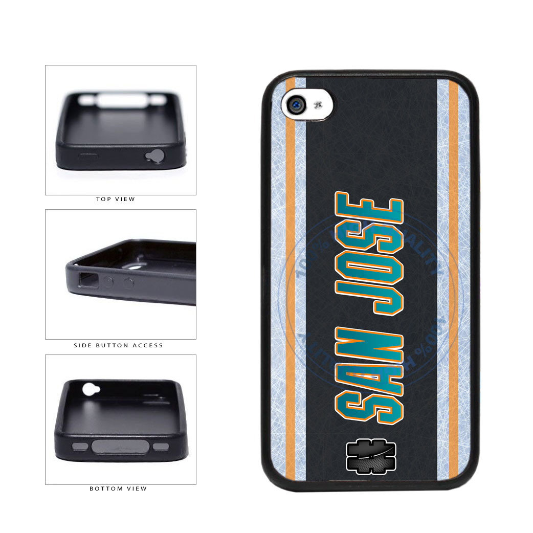 Hockey Team Hashtag San Jose #SanJose TPU Rubber SILICONE Phone Case Back Cover For Apple iPhone 4 4S includes BleuReign(TM) Cloth and Warranty Label