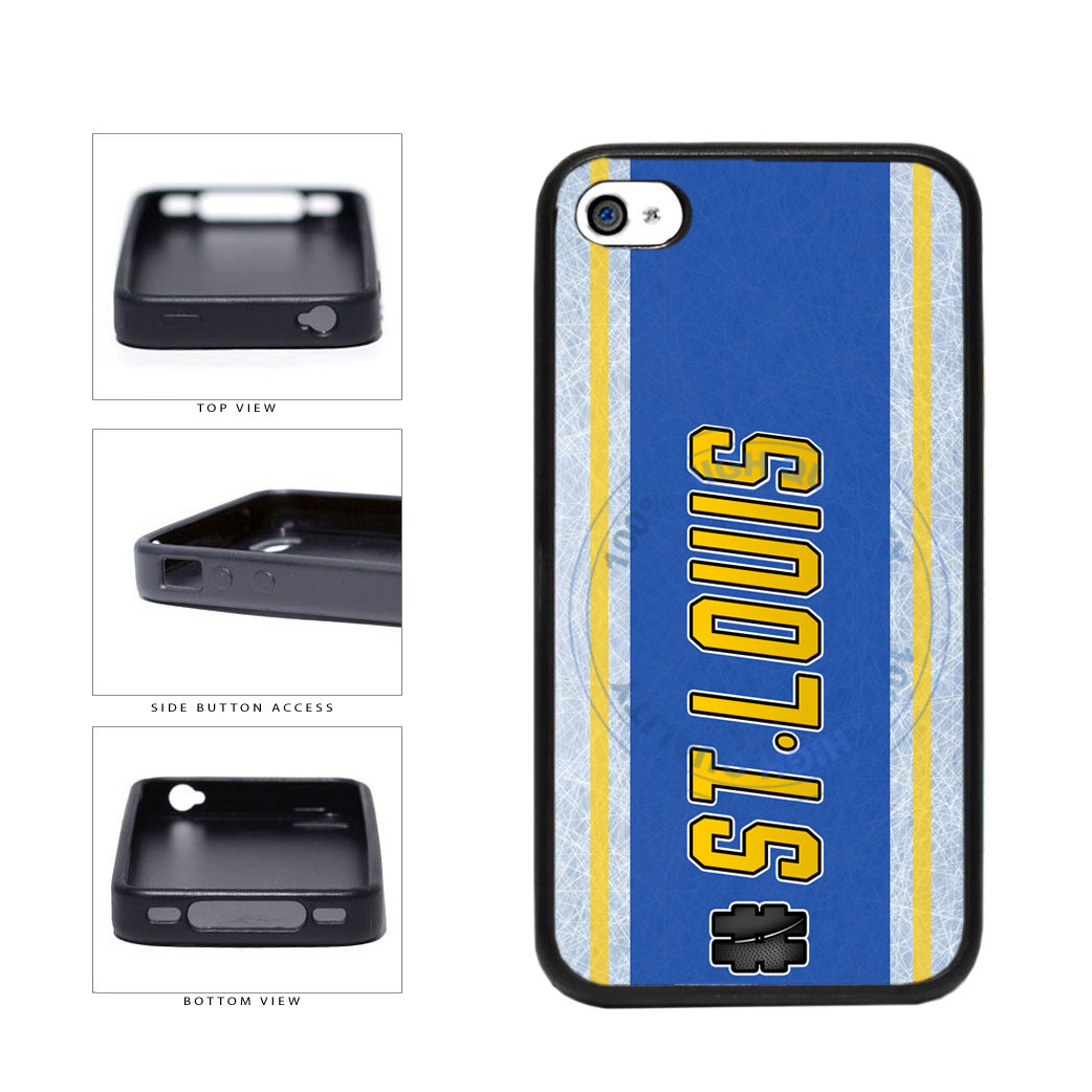 Hockey Team Hashtag St Louis #StLouis TPU Rubber SILICONE Phone Case Back Cover For Apple iPhone 4 4S includes BleuReign(TM) Cloth and Warranty Label