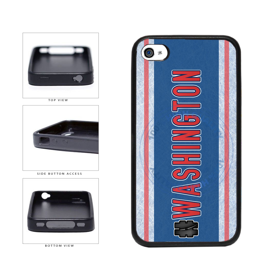 Hockey Team Hashtag Washington #Washington TPU Rubber SILICONE Phone Case Back Cover For Apple iPhone 4 4S includes BleuReign(TM) Cloth and Warranty Label