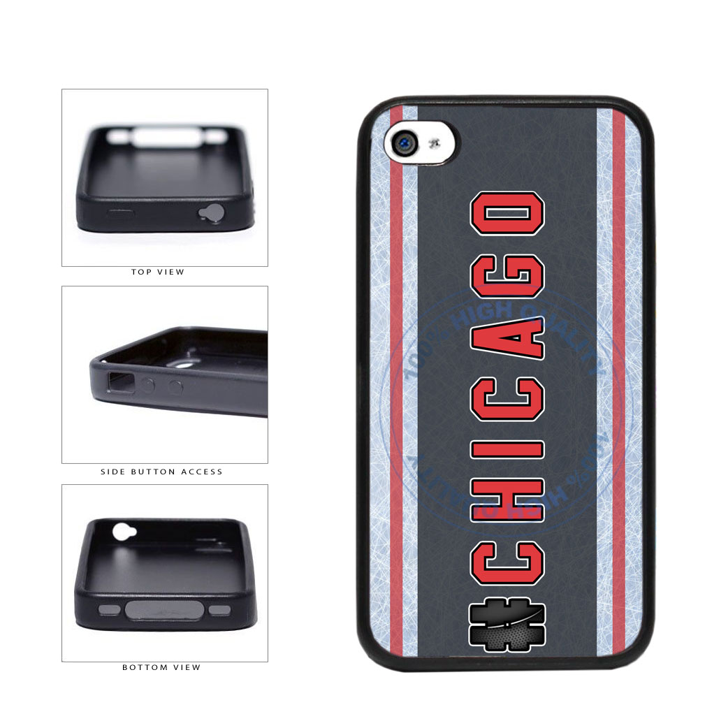 Hockey Team Hashtag Chicago #Chicago TPU Rubber SILICONE Phone Case Back Cover For Apple iPhone 4 4S includes BleuReign(TM) Cloth and Warranty Label