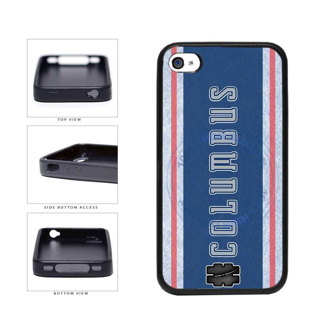 Hockey Team Hashtag Columbus #Columbus TPU Rubber SILICONE Phone Case Back Cover For Apple iPhone 4 4S includes BleuReign(TM) Cloth and Warranty Label