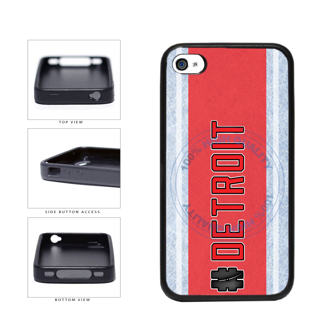 Hockey Team Hashtag Detroit #Detroit TPU Rubber SILICONE Phone Case Back Cover For Apple iPhone 4 4S includes BleuReign(TM) Cloth and Warranty Label
