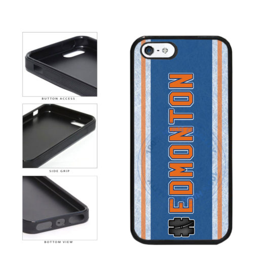 Hockey Team Hashtag Edmonton #Edmonton TPU Rubber SILICONE Phone Case Back Cover For Apple iPhone 5 5S includes BleuReign(TM) Cloth and Warranty Label