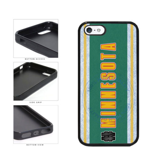 Hockey Team Hashtag Minnesota #Minnesota TPU Rubber SILICONE Phone Case Back Cover For Apple iPhone 5 5S includes BleuReign(TM) Cloth and Warranty Label