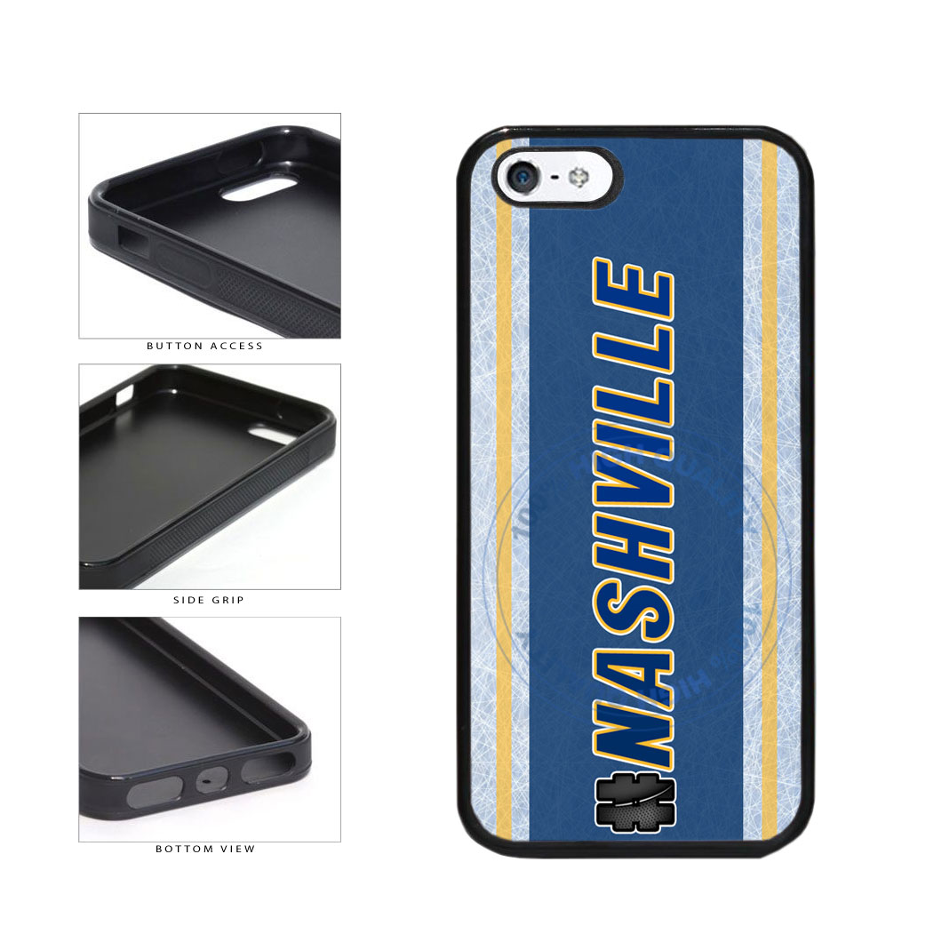Hockey Team Hashtag Nashville #Nashville TPU Rubber SILICONE Phone Case Back Cover For Apple iPhone 5 5S includes BleuReign(TM) Cloth and Warranty Label