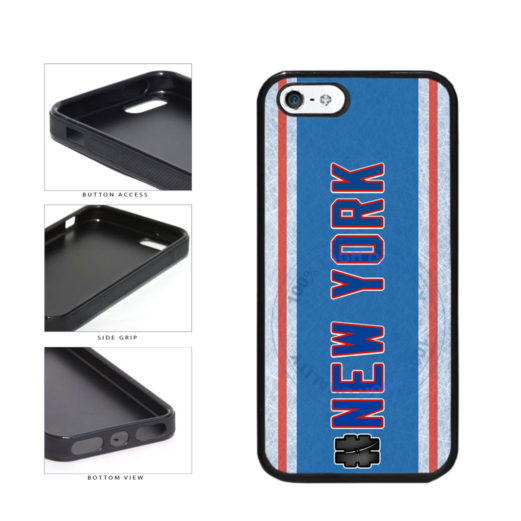 Hockey Team Hashtag New York Blue and Red #NewYork TPU Rubber SILICONE Phone Case Back Cover For Apple iPhone 5 5S includes BleuReign(TM) Cloth and Warranty Label