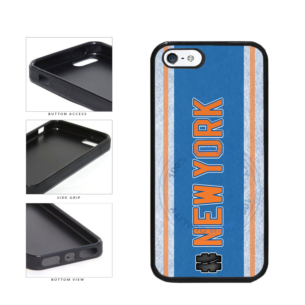 Hockey Team Hashtag New York Orange #NewYork TPU Rubber SILICONE Phone Case Back Cover For Apple iPhone 5 5S includes BleuReign(TM) Cloth and Warranty Label