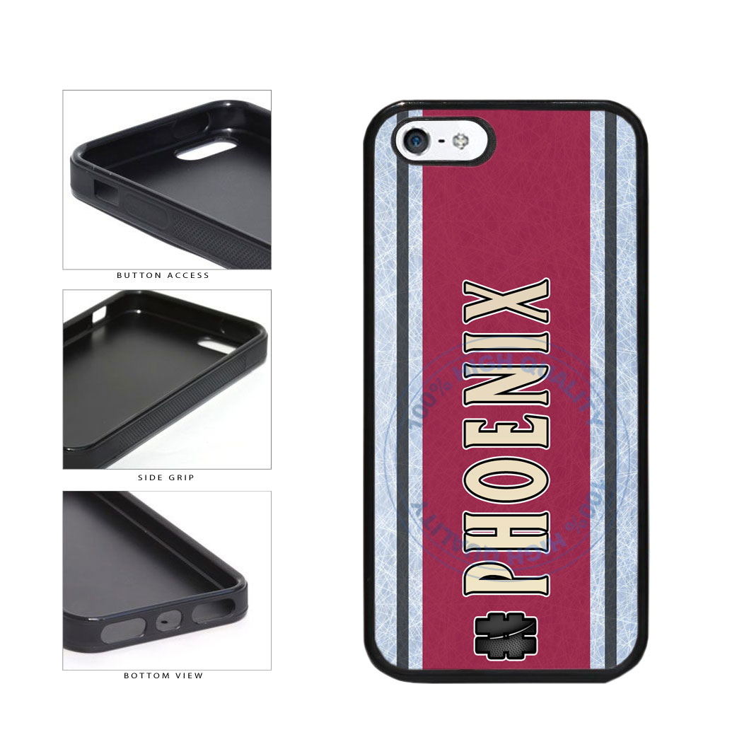Hockey Team Hashtag Phoenix #Phoenix TPU Rubber SILICONE Phone Case Back Cover For Apple iPhone 5 5S includes BleuReign(TM) Cloth and Warranty Label