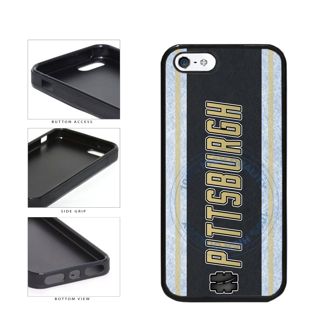 Hockey Team Hashtag Pittsburgh #Pittsburgh TPU Rubber SILICONE Phone Case Back Cover For Apple iPhone 5 5S includes BleuReign(TM) Cloth and Warranty Label