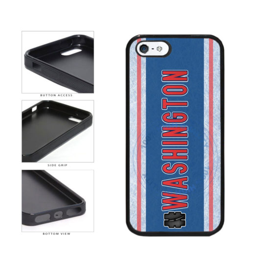 Hockey Team Hashtag Washington #Washington TPU Rubber SILICONE Phone Case Back Cover For Apple iPhone 5 5S includes BleuReign(TM) Cloth and Warranty Label