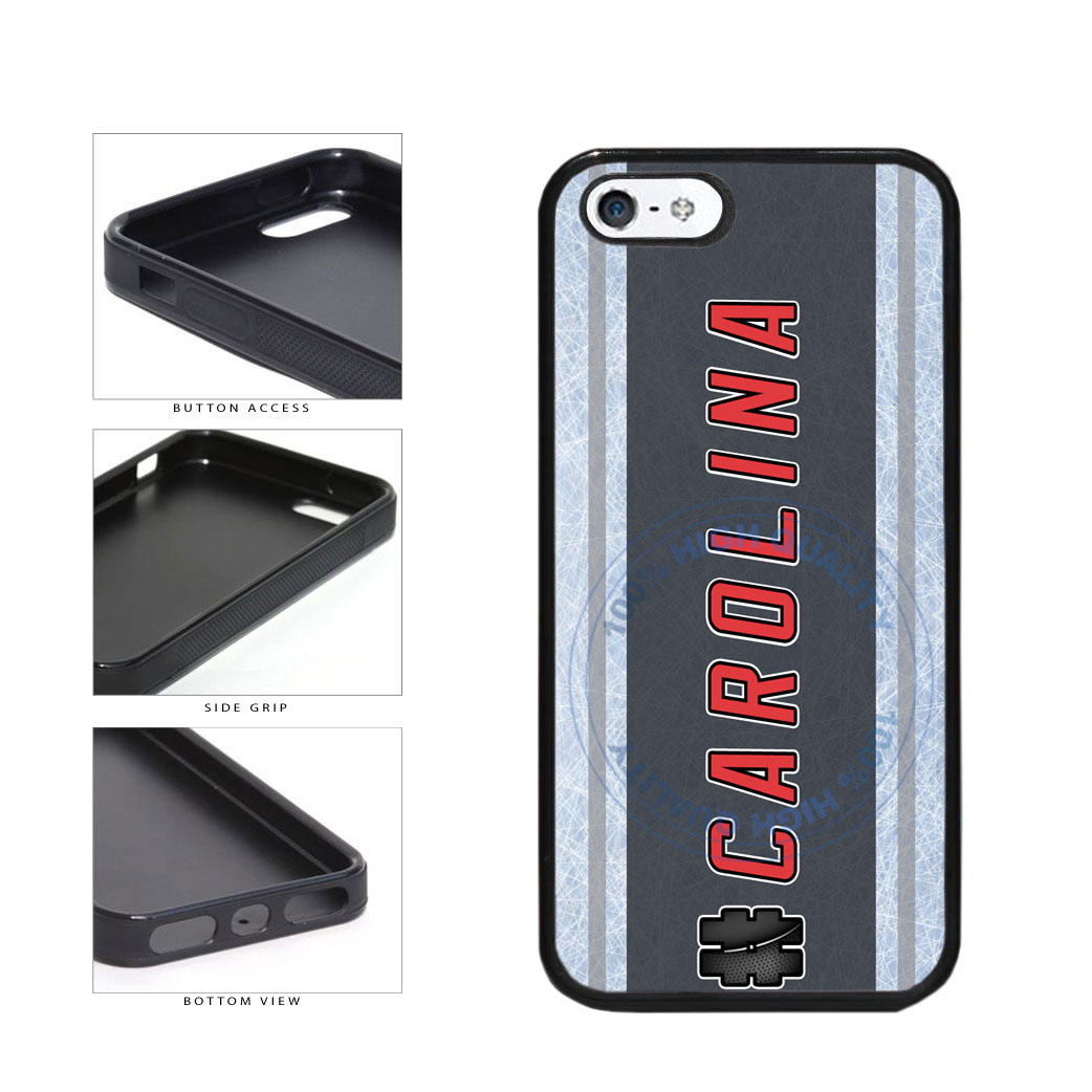 Hockey Team Hashtag Carolina #Carolina TPU Rubber SILICONE Phone Case Back Cover For Apple iPhone 5 5S includes BleuReign(TM) Cloth and Warranty Label
