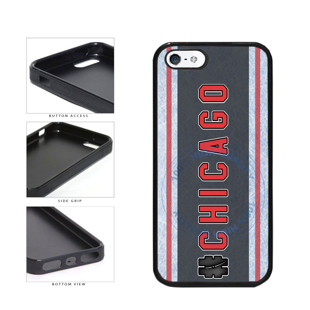 Hockey Team Hashtag Chicago #Chicago TPU Rubber SILICONE Phone Case Back Cover For Apple iPhone 5 5S includes BleuReign(TM) Cloth and Warranty Label
