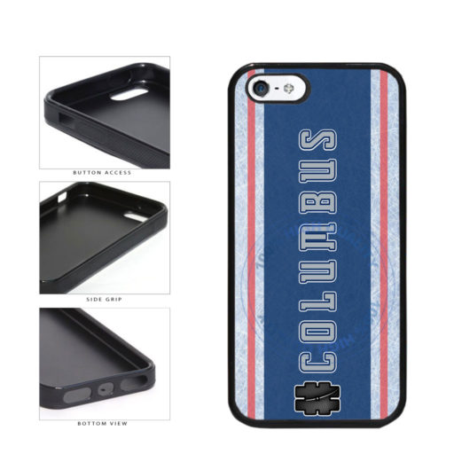 Hockey Team Hashtag Columbus #Columbus TPU Rubber SILICONE Phone Case Back Cover For Apple iPhone 5 5S includes BleuReign(TM) Cloth and Warranty Label