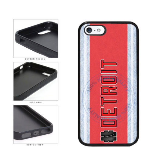 Hockey Team Hashtag Detroit #Detroit TPU Rubber SILICONE Phone Case Back Cover For Apple iPhone 5 5S includes BleuReign(TM) Cloth and Warranty Label
