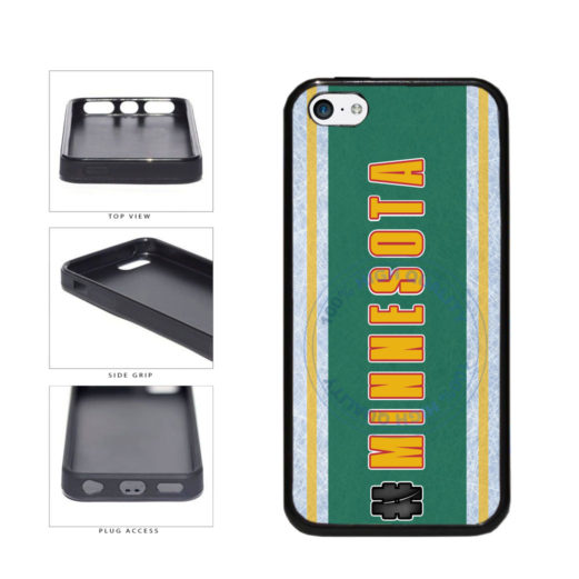 Hockey Team Hashtag Minnesota #Minnesota TPU Rubber SILICONE Phone Case Back Cover For Apple iPhone 5c includes BleuReign(TM) Cloth and Warranty Label