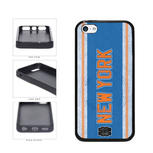 Hockey Team Hashtag New York Orange #NewYork TPU Rubber SILICONE Phone Case Back Cover For Apple iPhone 5c includes BleuReign(TM) Cloth and Warranty Label