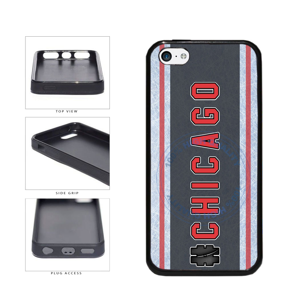 Hockey Team Hashtag Chicago #Chicago TPU Rubber SILICONE Phone Case Back Cover For Apple iPhone 5c includes BleuReign(TM) Cloth and Warranty Label