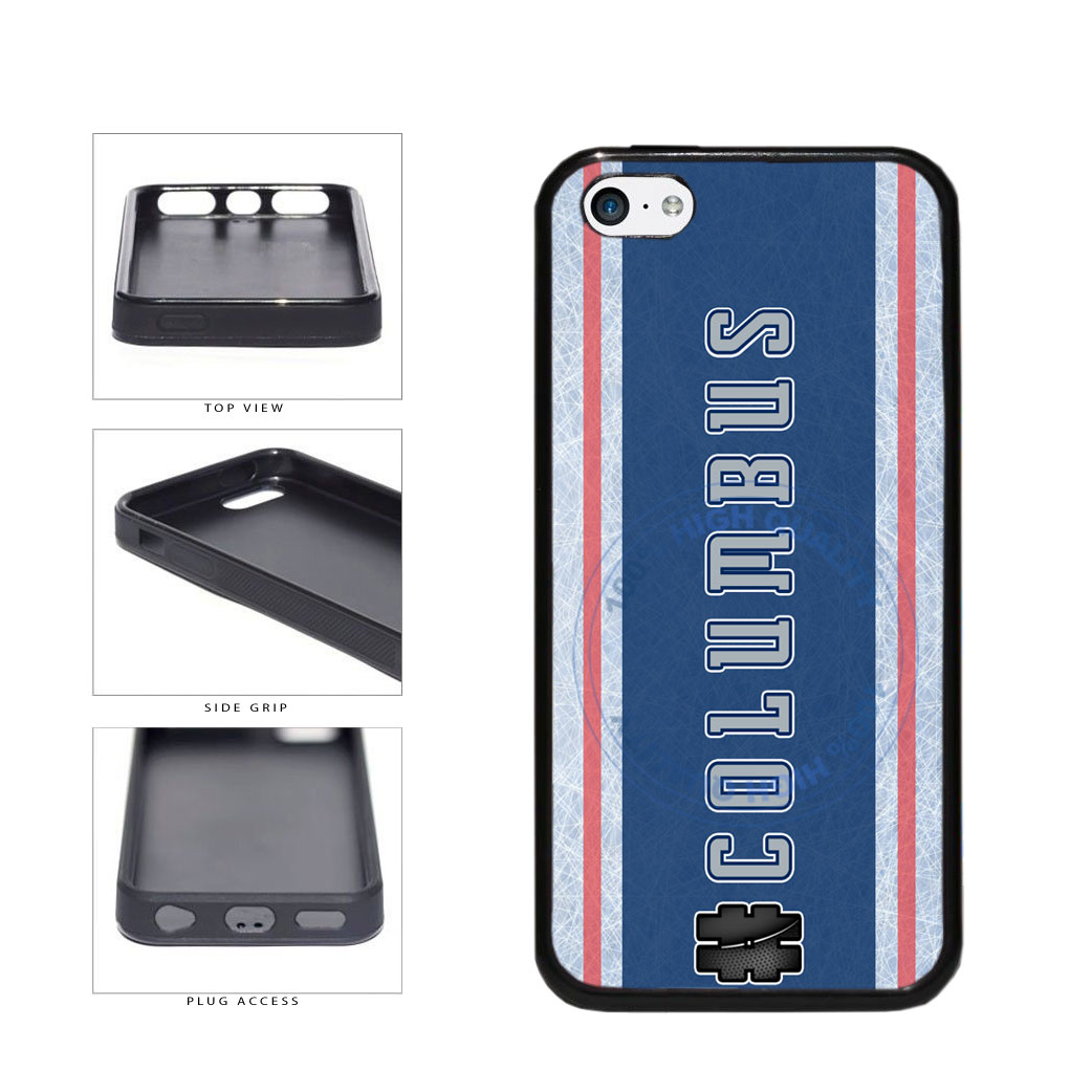 Hockey Team Hashtag Columbus #Columbus TPU Rubber SILICONE Phone Case Back Cover For Apple iPhone 5c includes BleuReign(TM) Cloth and Warranty Label