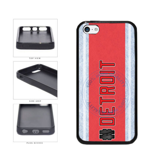 Hockey Team Hashtag Detroit #Detroit TPU Rubber SILICONE Phone Case Back Cover For Apple iPhone 5c includes BleuReign(TM) Cloth and Warranty Label