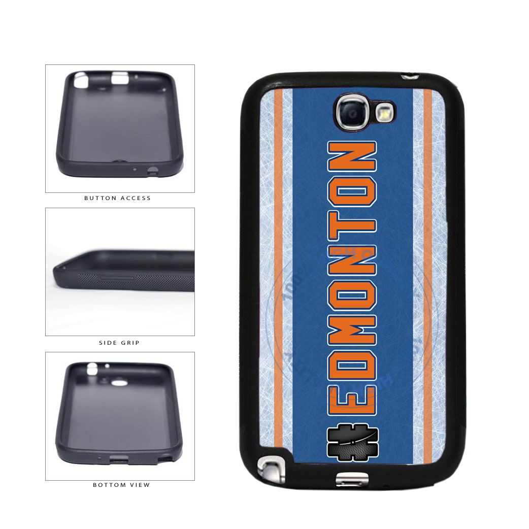 Hockey Team Hashtag Edmonton #Edmonton TPU Rubber SILICONE Phone Case Back Cover For Samsung Galaxy Note II 2 N7100 includes BleuReign(TM) Cloth and Warranty Label