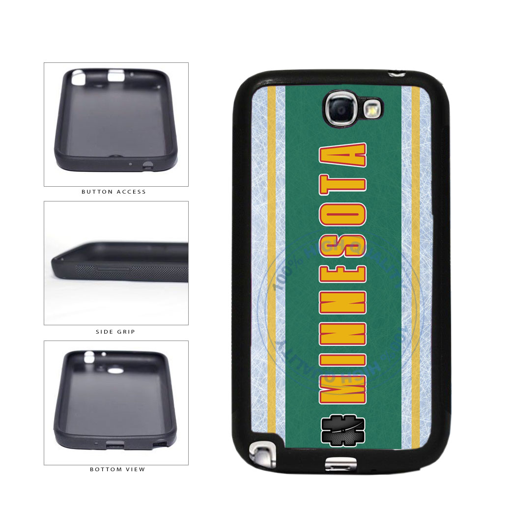 Hockey Team Hashtag Minnesota #Minnesota TPU Rubber SILICONE Phone Case Back Cover For Samsung Galaxy Note II 2 N7100 includes BleuReign(TM) Cloth and Warranty Label