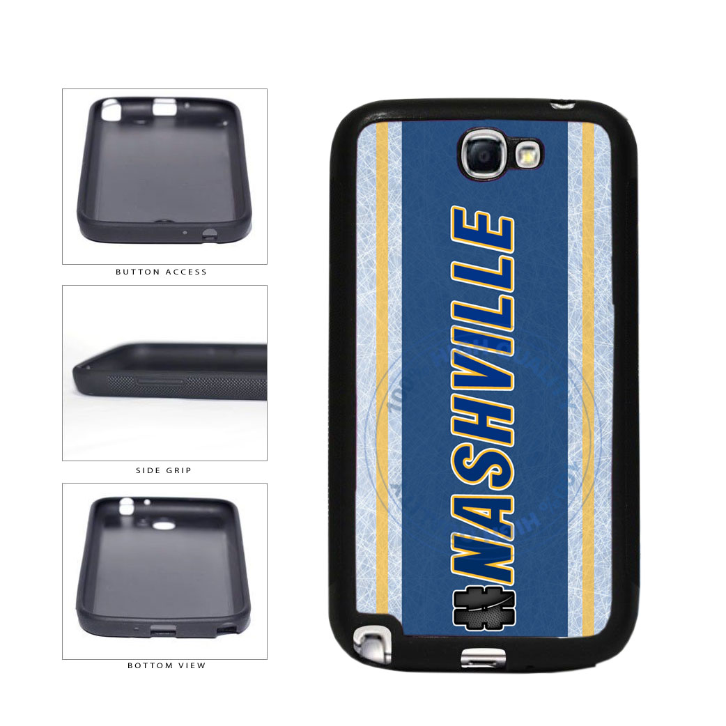 Hockey Team Hashtag Nashville #Nashville TPU Rubber SILICONE Phone Case Back Cover For Samsung Galaxy Note II 2 N7100 includes BleuReign(TM) Cloth and Warranty Label