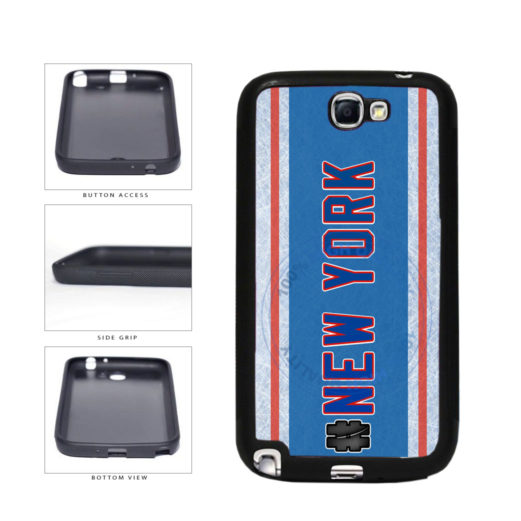 Hockey Team Hashtag New York Blue and Red #NewYork TPU Rubber SILICONE Phone Case Back Cover For Samsung Galaxy Note II 2 N7100 includes BleuReign(TM) Cloth and Warranty Label