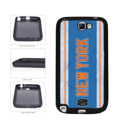 Hockey Team Hashtag New York Orange #NewYork TPU Rubber SILICONE Phone Case Back Cover For Samsung Galaxy Note II 2 N7100 includes BleuReign(TM) Cloth and Warranty Label