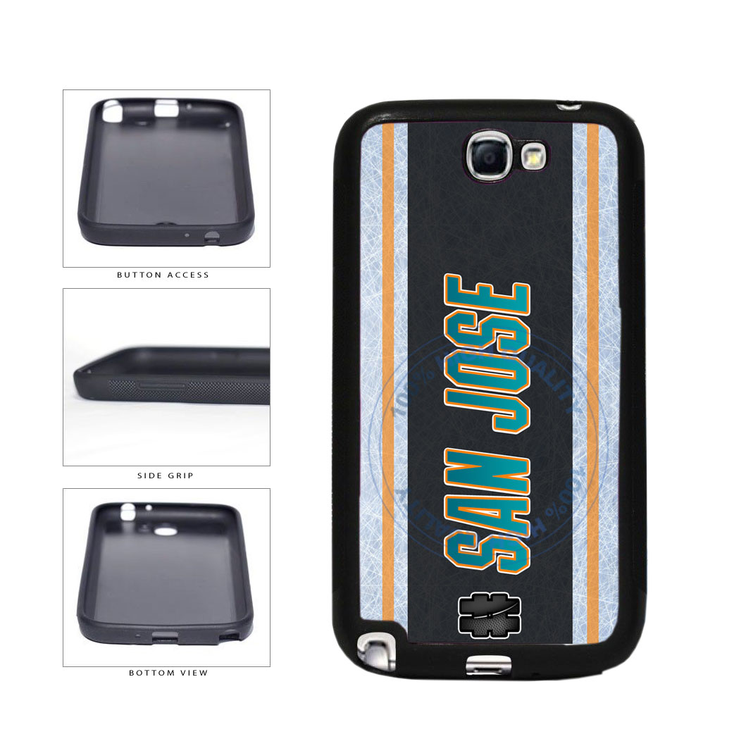 Hockey Team Hashtag San Jose #SanJose TPU Rubber SILICONE Phone Case Back Cover For Samsung Galaxy Note II 2 N7100 includes BleuReign(TM) Cloth and Warranty Label